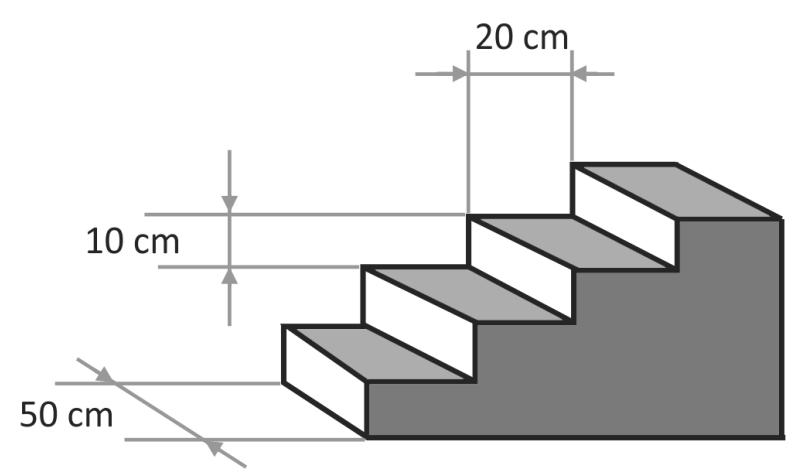 FUVEST 2019 - A figura mostra uma escada maciça de quatro degraus, todos ...