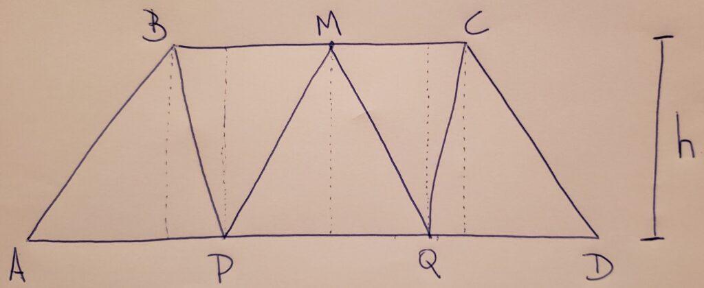 (ENEM 2019 PPL) No trapézio isósceles mostrado na figura a seguir, M é o ponto médio do segmento BC, e os pontos P e Q são obtidos dividindo o segmento AD em três partes iguais.