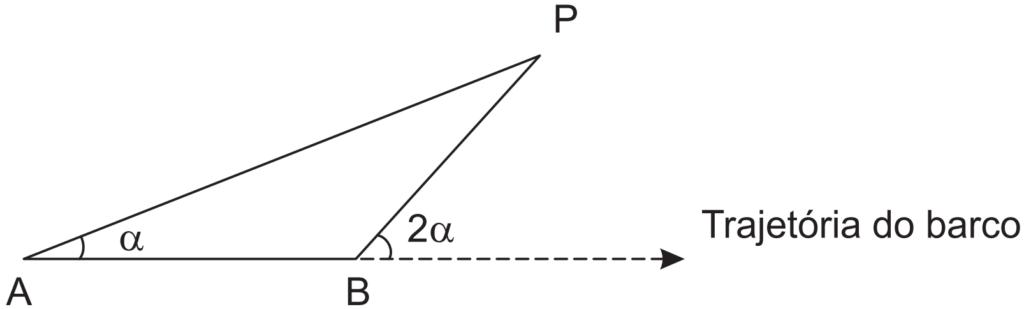 (ENEM 2011) Para determinar a distância de um barco até a praia, um navegante utilizou o seguinte procedimento: a partir de um ponto A, mediu o ângulo visual α fazendo mira em um ponto fixo P da praia. Mantendo o barco no mesmo sentido, ele seguiu até um ponto B de modo que fosse possível ver o mesmo ponto P da praia, no entanto sob um ângulo visual 2α. A figura ilustra essa situação: