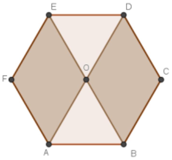 (UNEMAT 2019)A medida da área do hexágono regular da figura abaixo